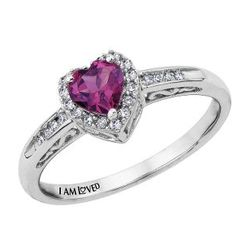 Sterling Silver Heart-Shaped Rhodolite Garnet Ring
