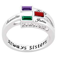 Sterling Silver Sisters Baguette Birthstone and Name Ring