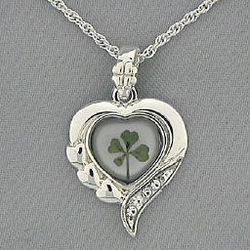 4 Leaf Clover Silvertone Heart Necklace