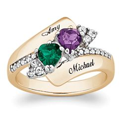 18K Gold Over Sterling Couple's Crystal Heart Birthstone Ring