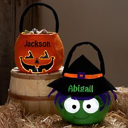 Personalized Spooky Plush Reflective Halloween Treat Basket