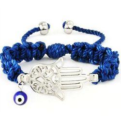 Blue Macrame Hamsa Kabbalah Bracelet