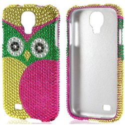 Green, Pink, and Yellow Owl Sparkling Gem Hard Case for Phone