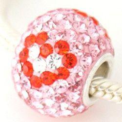 Pave Valentine Heart Cubic Zirconia Charm Bead
