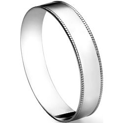 Large Sterling Silver Beaded Bangle Bracelet