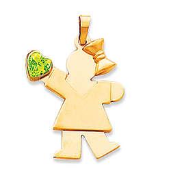 14k Yellow Gold Girl August Green Birthstone Pendant