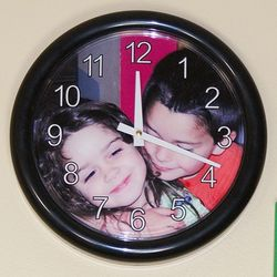Wall Clock with Photo and Text Personalized Face