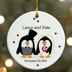 Personalized Ceramic Penguin Bride and Groom Ornament