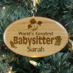 Engraved World's Greatest Babysitter Wooden Oval Ornament