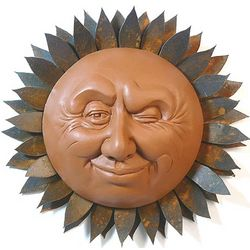 Winking Sun Outdoor Wall Sculpture