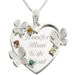 Sterling Silver Four Stone Butterfly Family Necklace