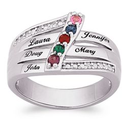 Platinum Plated Mother's Ring with Names, Birthstones and CZs
