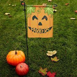 Personalized Happy Haunting Pumpkin Garden Flag with Stake