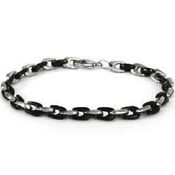Mens Steel and Black Horseshoe Link Bracelet