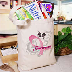 Hope Ribbon Breast Cancer Survivor Tote Bag