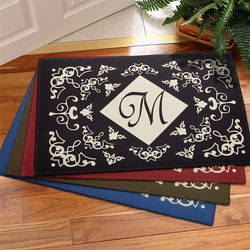 Filigree Monogram Personalized Doormat