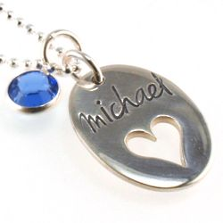 Personalized On My Heart Hand Stamped Necklace