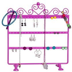 Kara Metal Scroll and Heart Pink Jewelry Stand