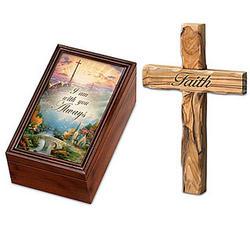 Thomas Kinkade Holy Land Olive Wood Cross and Music Box