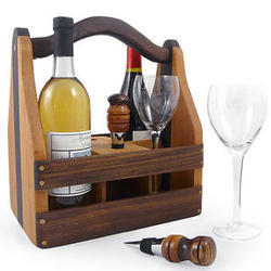 Handcrafted Convertible Beer and Wine Caddy with Bottle Stoppers