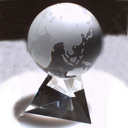 Crystal World Globe Paperweight