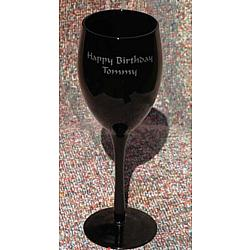 Personalized Midnight Black Wine Glass