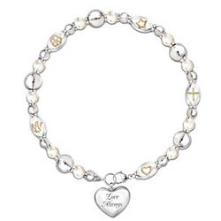 Dearest Daughter Diamond and Pearls Bracelet