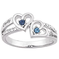 Sterling Silver Couples Birthstone & Diamond Accent Name Ring