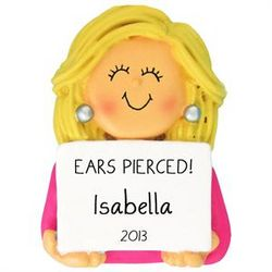 Ears Pierced Blonde Girl Ornament