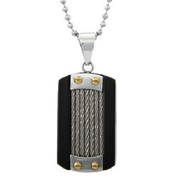 Men's Cable Inlay Dog Tag