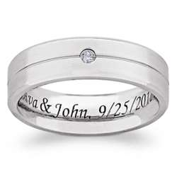 Titanium Groove Single Cubic Zirconia Engraved Beveled Band
