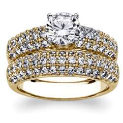Gold Over Sterling Cubic Zirconia Wedding Ring Set