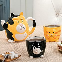 Cat Teapot and Mugs