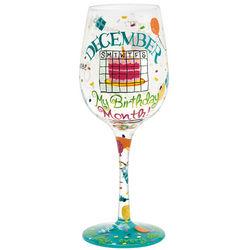December Birthday Month Wine Glass