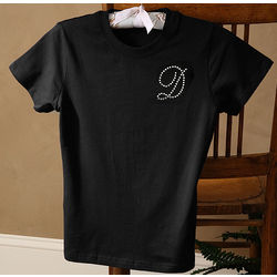 Medium Rhinestone Black Fitted T-Shirt