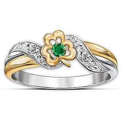 Lucky Shamrock Emerald and Diamond Embrace Ring