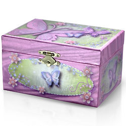 Vibrant Pink and Green Spinning Ballerina Musical Jewelry Box