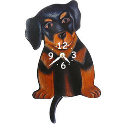 Tail Wagging Rottweiler Dog Pendulum Clock