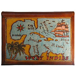 Caribbean Cruise Map Leather Photo Album in Color