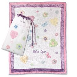 Butterflies & Flowers Quilt & Bag Set