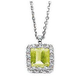 Diamond Princess Peridot Solitaire Vintage Style Pendant