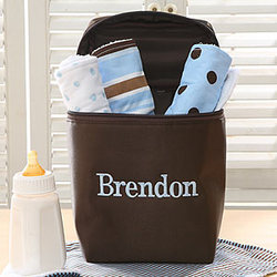 Personalized Burp Cloth & Bag Set in Blue