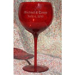 Personalized Midnight Red Balloon Wine Glass