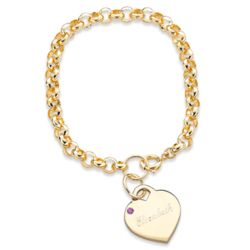 February Engraved Birthstone Heart Charm Bracelet