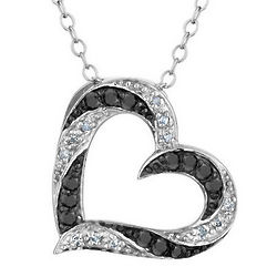 White and Black Diamond Heart Pendant