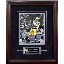 Framed Aaron Rodgers Autographed Photo in Super Bowl XLV