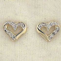 Diamond Accent Two Tone Heart Earrings