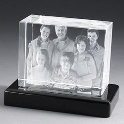 "6"" 3D Photo Crystal with Black Base"