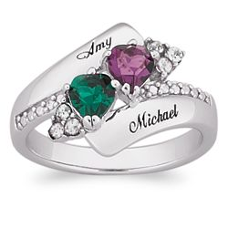Sterling Silver Couple's Crystal Heart Birthstone Name Ring