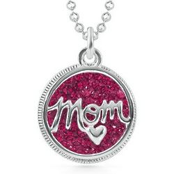 Sterling Silver Mom Circle Pendant